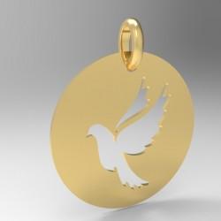 Médaille ronde découpée colombe