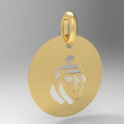Médaille ronde cœur vendéen repercer