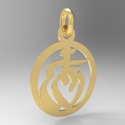Médaille ronde cœur vendéen avec entourage